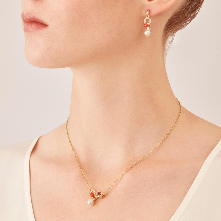 Contemporary Nathalie Jean 0.21 Carat Diamond Pearl Carnelian Gold Drop Dangle Earrings For Sale