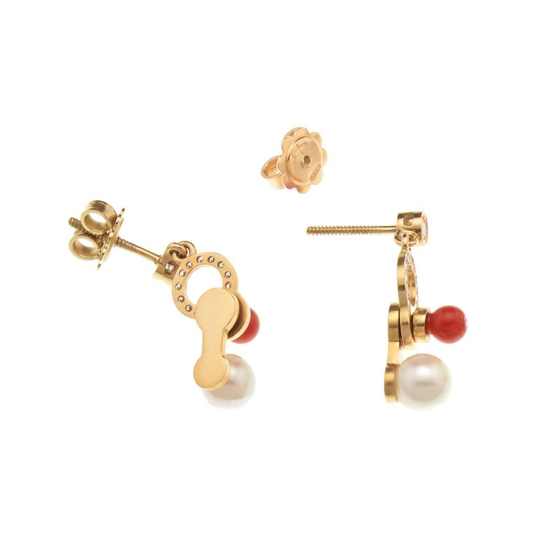 Round Cut Nathalie Jean 0.21 Carat Diamond Pearl Carnelian Gold Drop Dangle Earrings For Sale