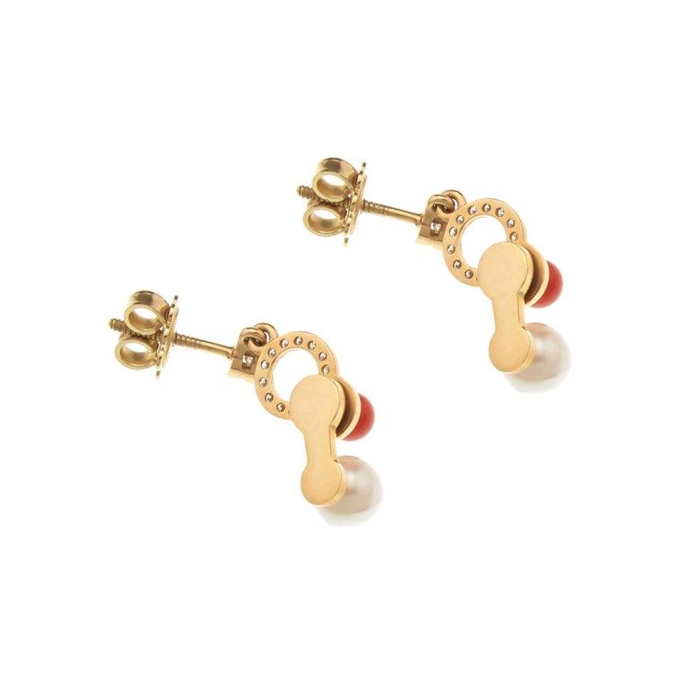 Nathalie Jean 0.21 Carat Diamond Pearl Carnelian Gold Drop Dangle Earrings In New Condition For Sale In Milan, Lombardia
