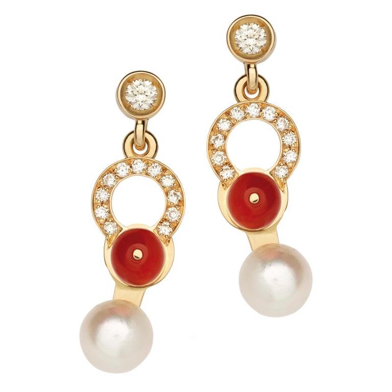Women's or Men's Nathalie Jean 0.21 Carat Diamond Pearl Carnelian Gold Drop Dangle Earrings For Sale