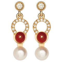 Nathalie Jean 0.21 Carat Diamond Pearl Carnelian Gold Drop Dangle Earrings