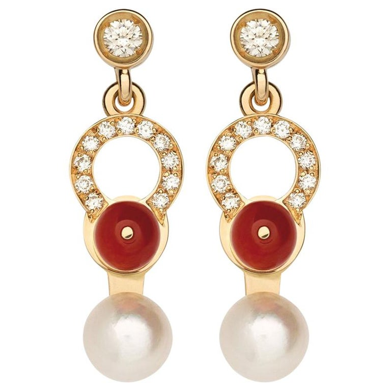 Nathalie Jean 0.21 Carat Diamond Pearl Carnelian Gold Drop Dangle Earrings For Sale