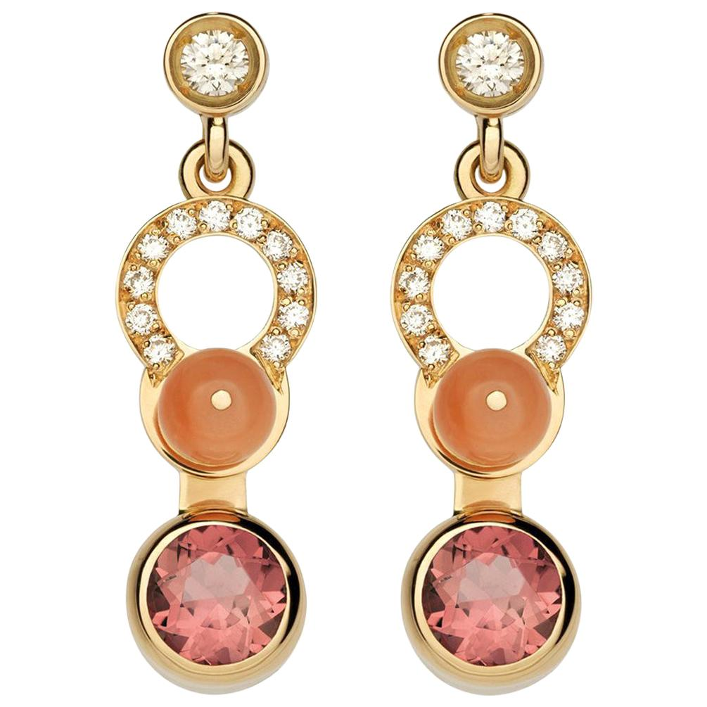 Nathalie Jean 0.21 Carat Diamond Tourmaline Carnelian Gold Drop Dangle Earrings