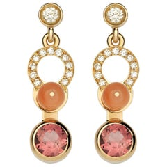 Nathalie Jean 0.21 Carat Diamond Tourmaline Carnelian Gold Drop Dangle Earrings