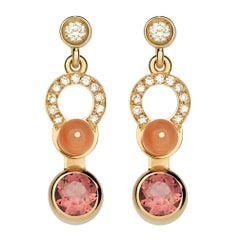 Nathalie Jean 0.21 Carat Diamond Tourmaline Coral Gold Drop Dangle Earrings