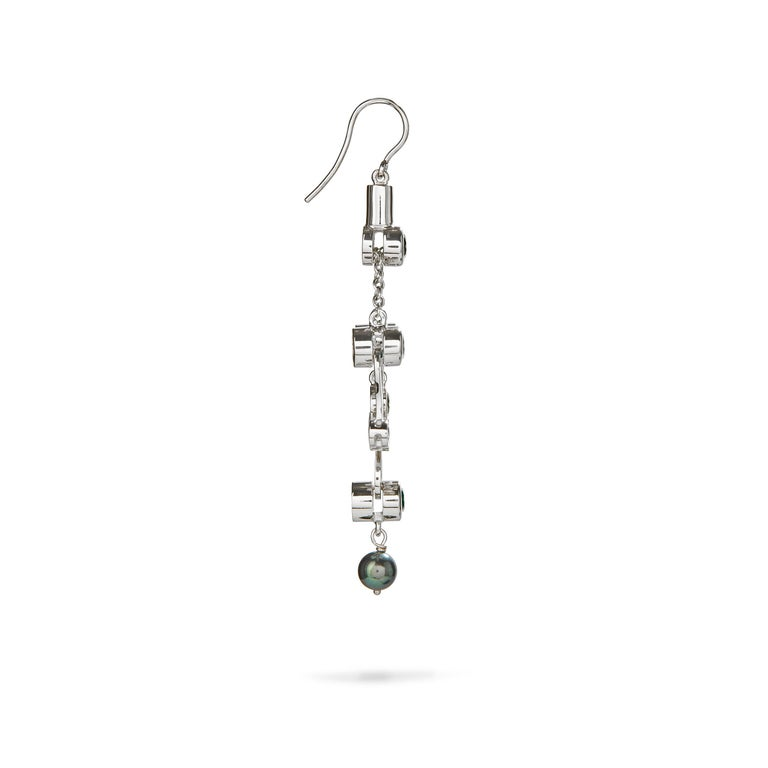Contemporary Nathalie Jean 0.2Carat Diamond Emerald Tourmaline Indicolite Pearl Gold Earrings For Sale