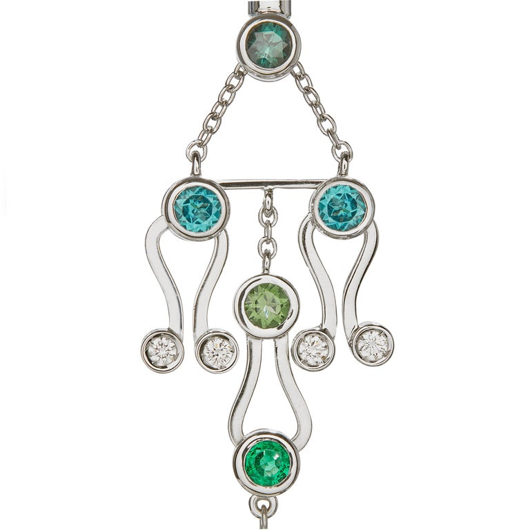 Round Cut Nathalie Jean 0.2Carat Diamond Emerald Tourmaline Indicolite Pearl Gold Earrings For Sale