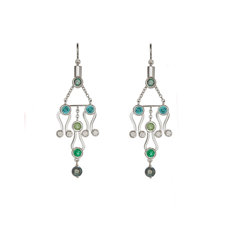 Nathalie Jean 0.2Carat Diamond Emerald Tourmaline Indicolite Pearl Gold Earrings For Sale