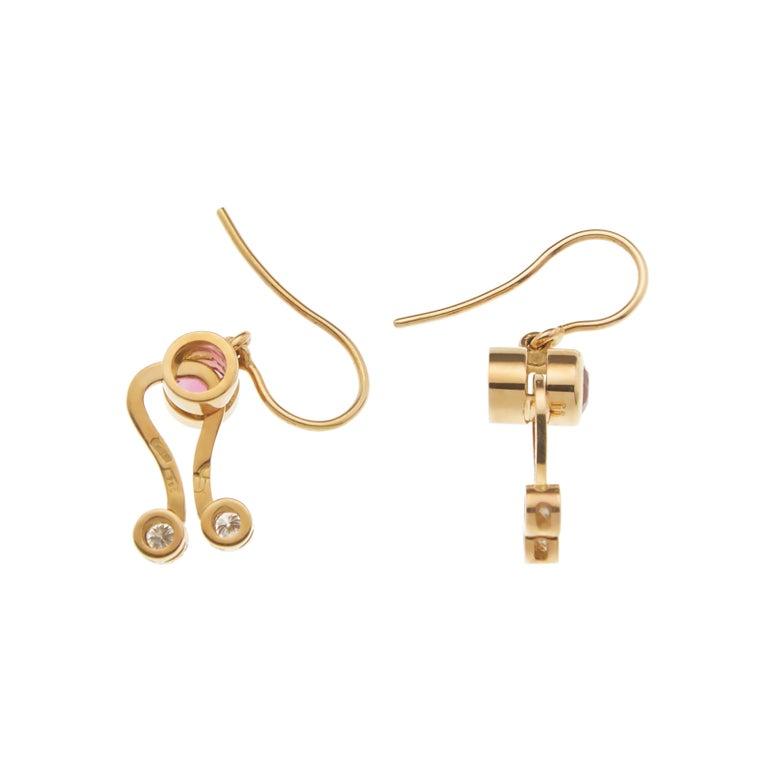 Round Cut Nathalie Jean 0.30 Carat Diamond Tourmaline Gold Pendant Earrings Set For Sale