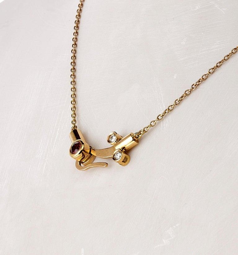 Nathalie Jean 0.30 Carat Diamond Tourmaline Gold Pendant Earrings Set For Sale 2