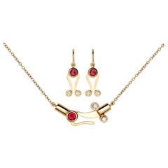 Nathalie Jean 0.30 Carat Diamond Tourmaline Gold Pendant Earrings Set