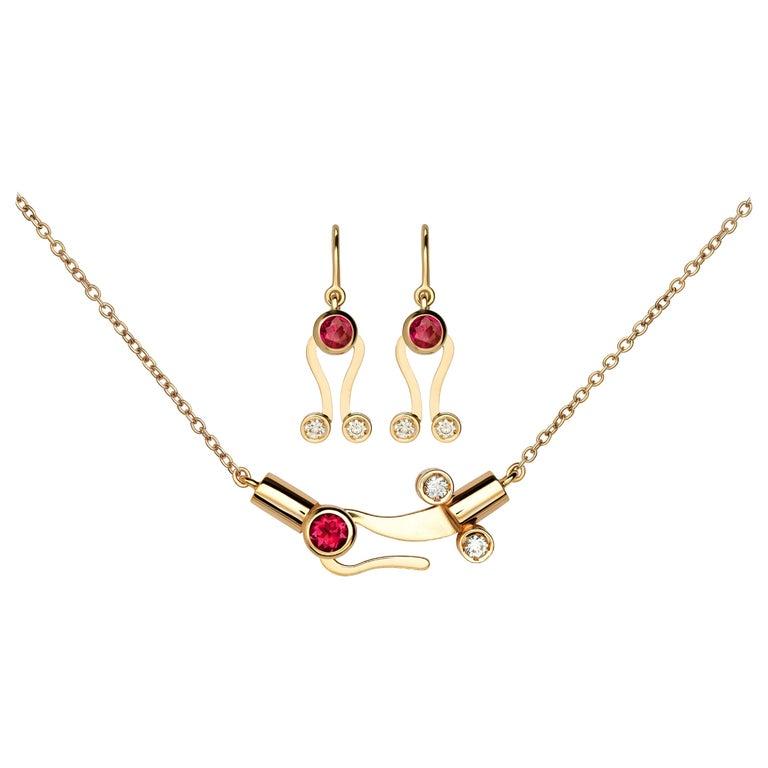 Nathalie Jean 0.30 Carat Diamond Tourmaline Gold Pendant Earrings Set For Sale