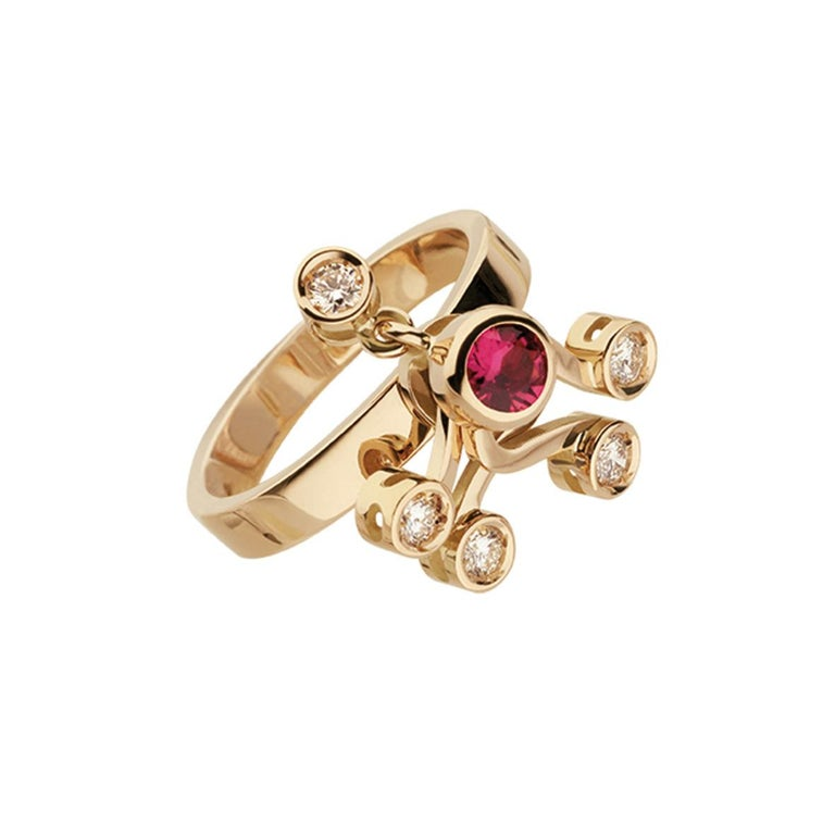 Contemporary Nathalie Jean 0.35 Carat Diamond Ruby Tourmaline Pearl Gold Stack Fashion Rings For Sale