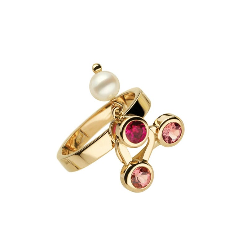 Round Cut Nathalie Jean 0.35 Carat Diamond Ruby Tourmaline Pearl Gold Stack Fashion Rings For Sale