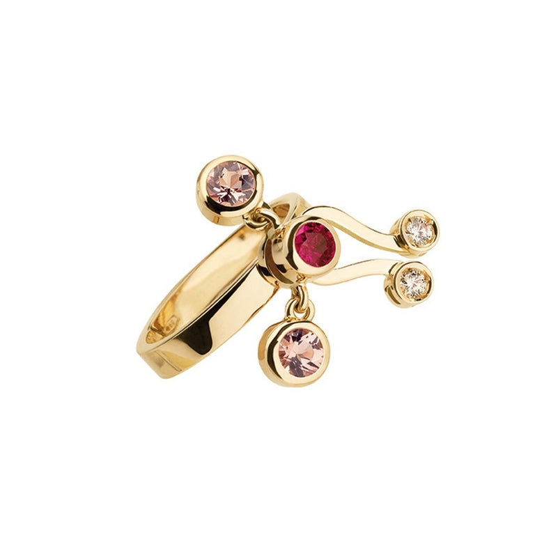 Nathalie Jean 0.35 Carat Diamond Ruby Tourmaline Pearl Gold Stack Fashion Rings In New Condition For Sale In Milan, Lombardia