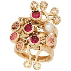 Nathalie Jean 0.35 Carat Diamond Ruby Tourmaline Pearl Gold Stack Fashion Rings