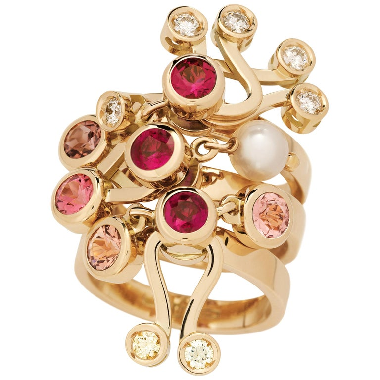 Nathalie Jean 0.35 Carat Diamond Ruby Tourmaline Pearl Gold Stack Fashion Rings For Sale