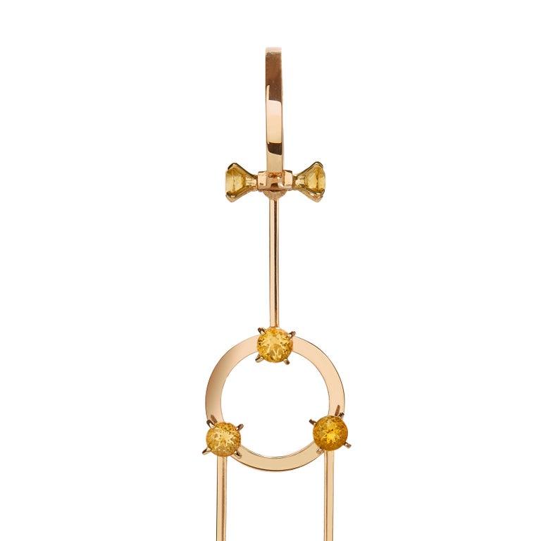 Contemporary Nathalie Jean 0.40 Carat Diamond 1.02 Carat Citrine Gold Drop Dangle Earrings For Sale