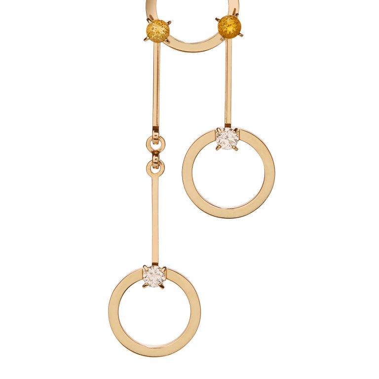 Round Cut Nathalie Jean 0.40 Carat Diamond 1.02 Carat Citrine Gold Drop Dangle Earrings For Sale