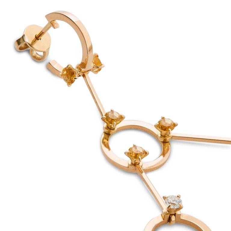 Nathalie Jean 0.40 Carat Diamond 1.02 Carat Citrine Gold Drop Dangle Earrings In New Condition For Sale In Milan, Lombardia