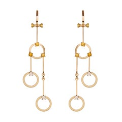 Nathalie Jean 0.40 Carat Diamond 1.02 Carat Citrine Gold Drop Dangle Earrings