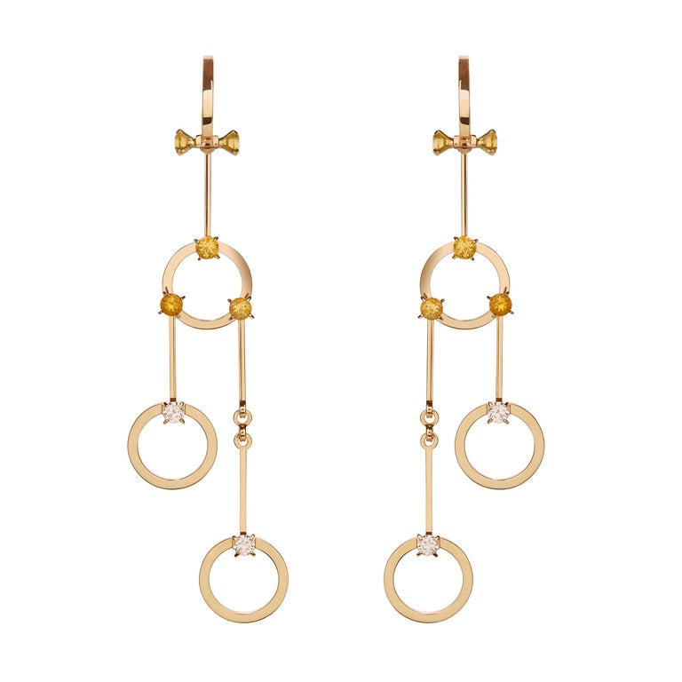 Nathalie Jean 0.40 Carat Diamond 1.02 Carat Citrine Gold Drop Dangle Earrings For Sale