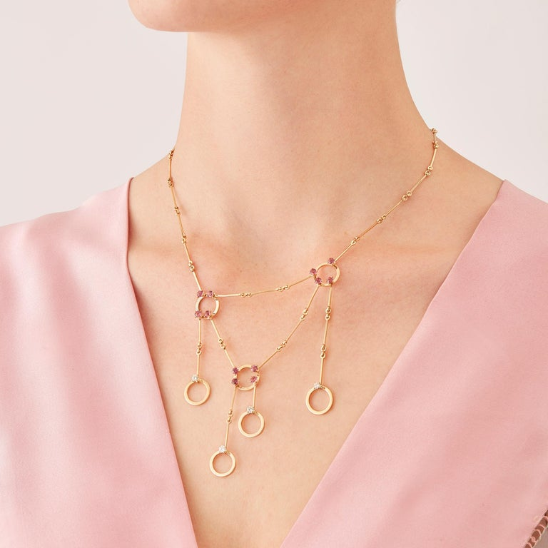 Made by hand in the Milanese atelier of Nathalie Jean, the limited edition HoiAn necklace is a graceful composition of articulated rings and bars in rosé gold, a warm, sophisticated color close to yellow gold. Miniature articulations are cleverly
