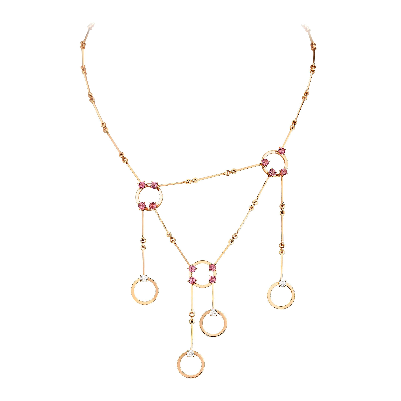 Nathalie Jean 0.4 Carat Diamond 1.50 Carat Tourmaline Gold Contemporary Necklace