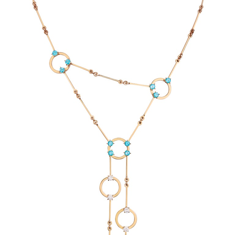 Contemporary Nathalie Jean 0.6 Carat Diamond 1.30 Carat Paraiba Topaz Gold Necklace For Sale