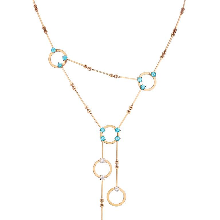 Contemporary Nathalie Jean 0.6 Carat Diamond 1.30 Carat Paraiba Topaz Gold Necklace For Sale