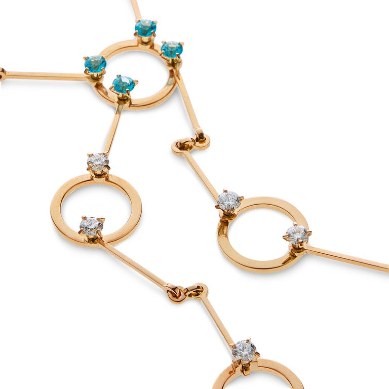 Nathalie Jean 0.6 Carat Diamond 1.30 Carat Paraiba Topaz Gold Necklace In New Condition For Sale In Milan, Lombardia