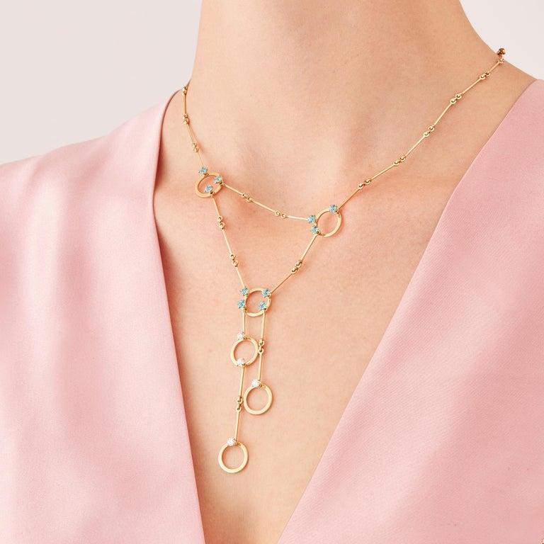 Round Cut Nathalie Jean 0.6 Carat Diamond 1.30 Carat Paraiba Topaz Gold Necklace For Sale