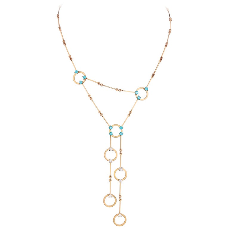 Nathalie Jean 0.6 Carat Diamond 1.30 Carat Paraiba Topaz Gold Necklace For Sale