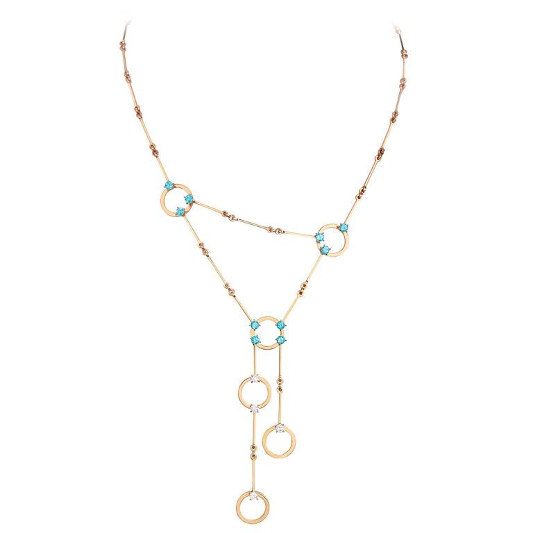 Nathalie Jean 0.6 Carat Diamond 1.30 Carat Paraiba Topaz Gold Necklace For Sale