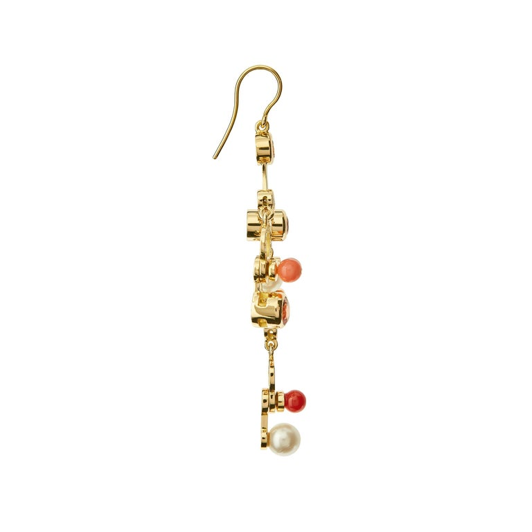 Contemporary Nathalie Jean 0.63 Carat Diamond Ruby Tourmaline Pearl Carnelian Gold Earrings For Sale