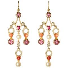 Nathalie Jean 0.63 Carat Diamond Ruby Tourmaline Pearl Carnelian Gold Earrings