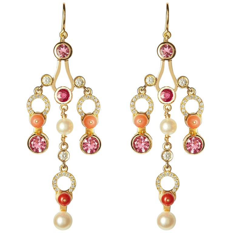 Nathalie Jean 0.63 Carat Diamond Ruby Tourmaline Pearl Carnelian Gold Earrings For Sale