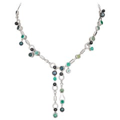 Nathalie Jean 0.79 Carat Diamond Emerald Tourmaline Pearl Onyx Gold Necklace