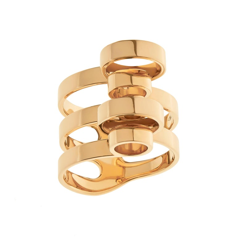 Women's or Men's Nathalie Jean 18 Karat Gold Contemporary Sculpture Cocktail Ring For Sale