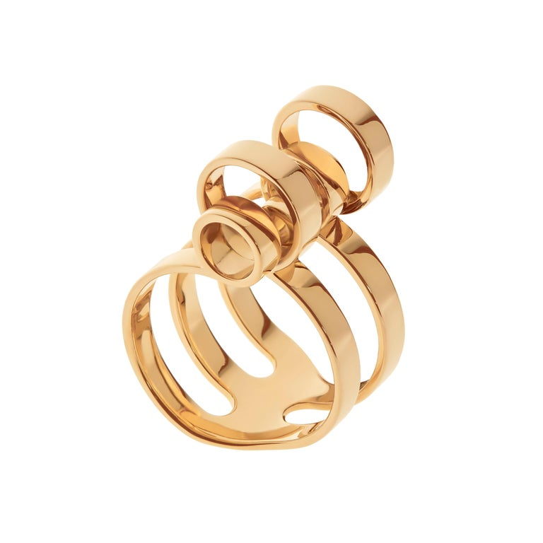 Nathalie Jean 18 Karat Gold Contemporary Sculpture Cocktail Ring For Sale 2