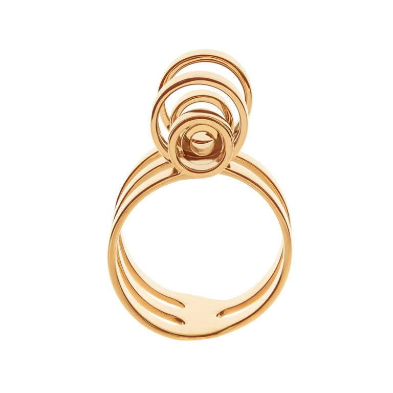 Nathalie Jean 18 Karat Gold Contemporary Sculpture Cocktail Ring For Sale 3