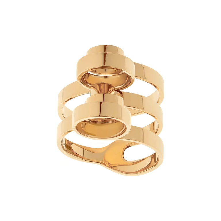 Nathalie Jean 18 Karat Gold Contemporary Sculpture Cocktail Ring For Sale