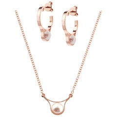 Nathalie Jean 18 Karat Rose Gold Pearl Pendant Necklace and Earrings Set