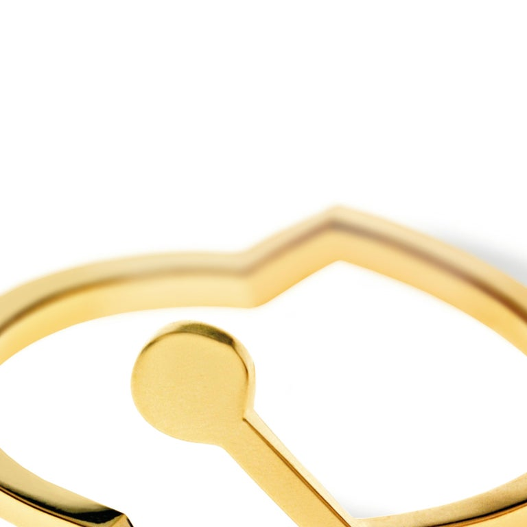 Round Cut Nathalie Jean Contemporary 0.018 Carat Diamond 18 Karat Yellow Gold Ring For Sale