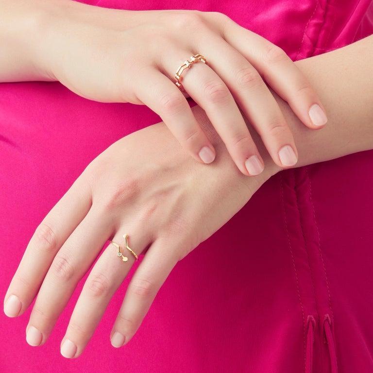 Nathalie Jean Contemporary 0.018 Carat Diamond 18 Karat Yellow Gold Ring For Sale 1