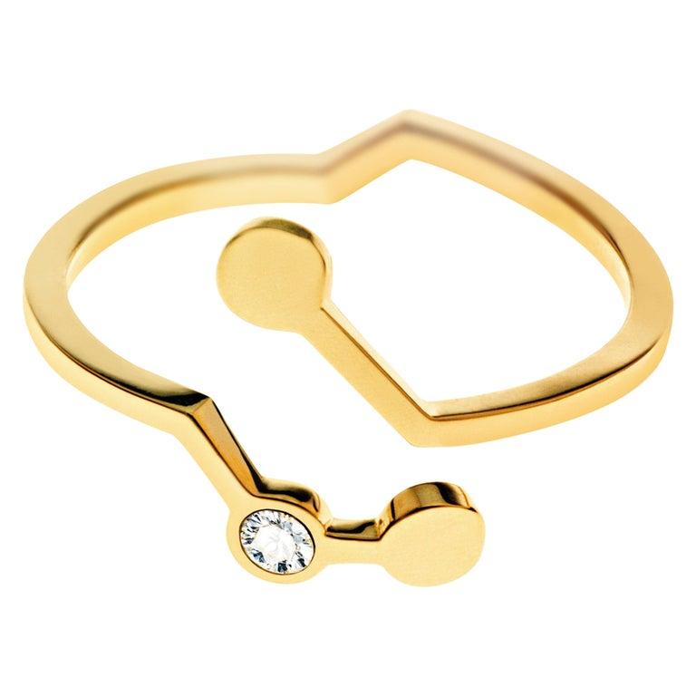 Nathalie Jean Contemporary 0.018 Carat Diamond 18 Karat Yellow Gold Ring For Sale