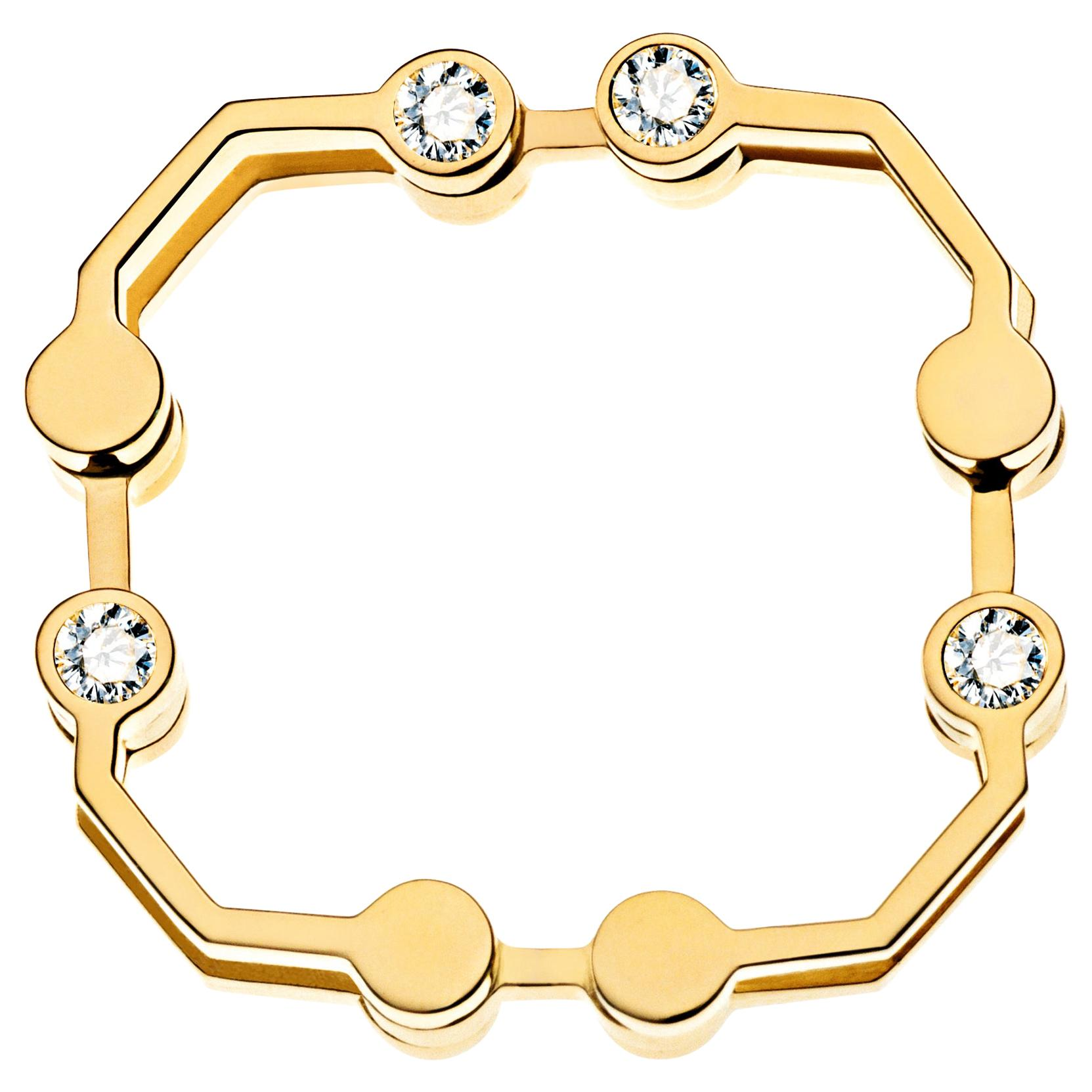 Nathalie Jean Contemporary 0.144 Carat Diamond 18 Karat Gold Articulated Ring