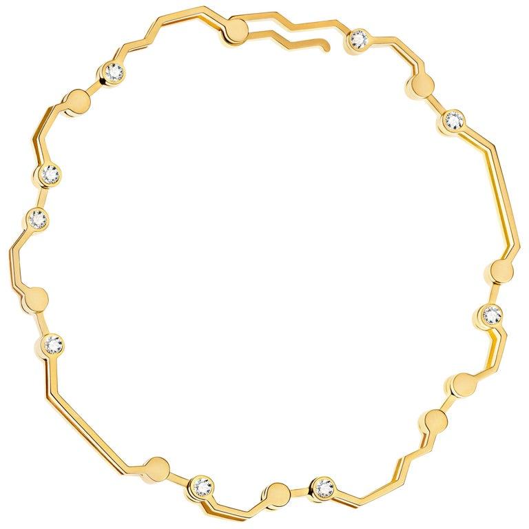 Nathalie Jean Contemporary 0.324 Carat Diamond Gold Articulated Link Bracelet For Sale