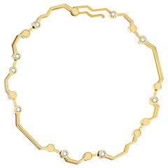 Nathalie Jean Contemporary 0.324 Carat Diamond Yellow Gold Link Bracelet