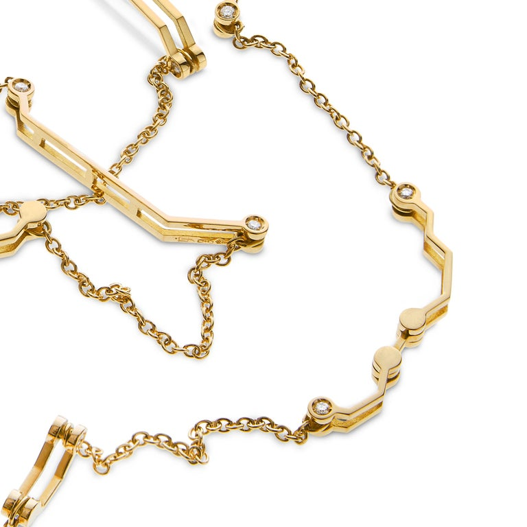 Nathalie Jean Contemporary 0.468 Carat Diamond Yellow Gold Link Chain Necklace For Sale 1